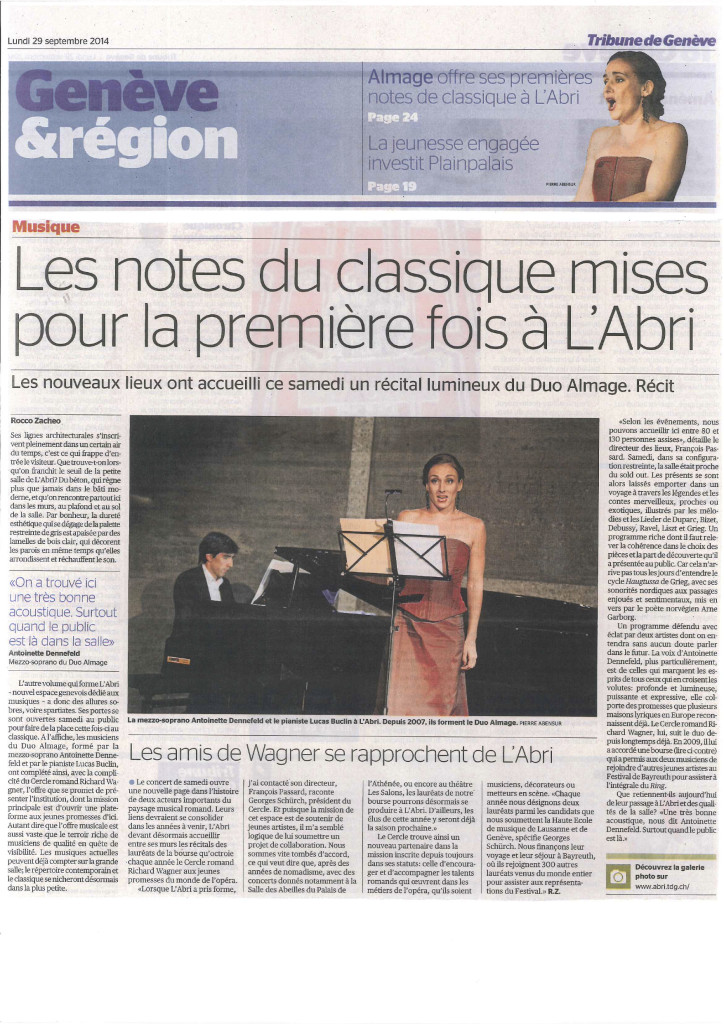Article paru dans la Tribune de Genève le